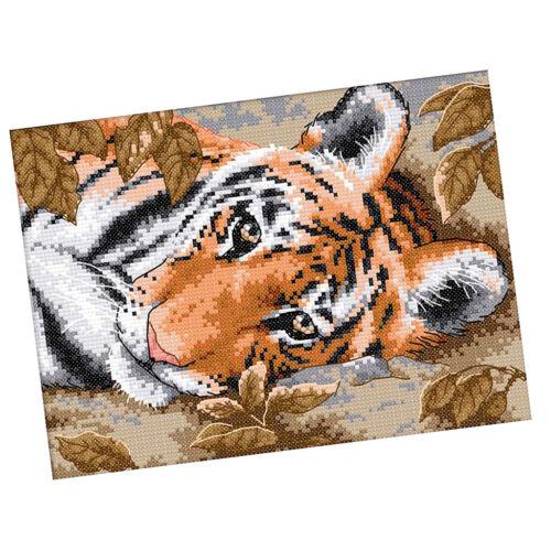 Tigermuster für Kreuzstich Stickerei DIY Handarbeit Stickpackung Set