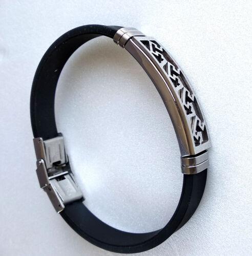 Unisex Black Rubber Stainless steel 20.5cm x 12mm Bracelet Bangle Charm RB23