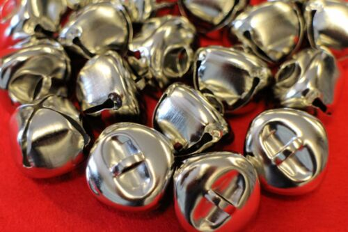 """JINGLE BELLS LARGE 25mm Christmas Silver Gold Sleigh Metal  Craft Cat Musical 1/"""""""