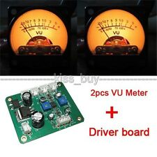 2x Panel VU Meter Warm Back Light Recording & Audio Level Amp with Driver Module