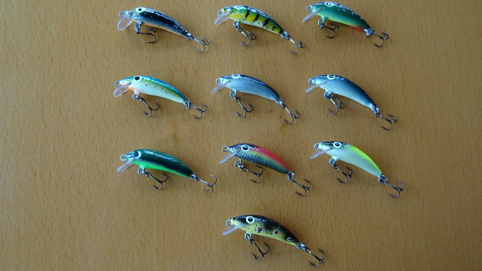 10 x LURE gold ASSAN WOBBLER TROUT 3,5cm 2,0g FLOATING HAND JOB made of wood