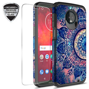For-Moto-Z3-Play-Graphic-Colorful-Silicone-Case-W-Glass-Screen-Protector