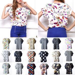 Mode-femmes-ete-mousseline-lache-T-shirt-decontracte-Tops-Shirt-Blouse-Chemisier