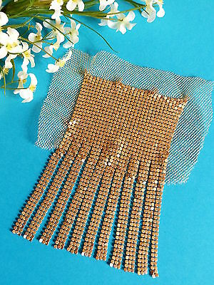 "2019 Fashion 211# Splendid Application "" Fishnet Gold "" Tulle Link Flexible Period Vintage Pleasant In After-Taste Linens & Textiles (pre-1930) Antiques"