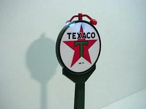 "Crafted 1-18 Scale Lighted Texaco Banjo Pole Sign 14 3/4"" Gas Station Display"