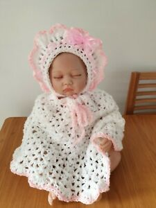 Hand Crochet 0 3 Months Baby Girls Poncho And Bonnet Hat Set With