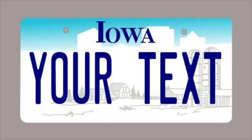 "name or text 3/""x6/"" Iowa custom novelty bicycle mini license plate"