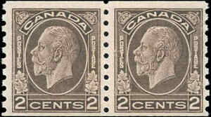 Mint-NH-Canada-2c-Coil-Pair-1933-F-Scott-206-KGV-Medallion-Stamps