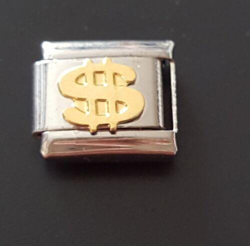 Dollar Sign Italian Charm Bracelet Link Charms