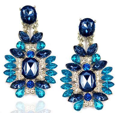 Hot Fashion Luxury Crystal Leaf Geometry Flower Dangle Statement Stud Earring