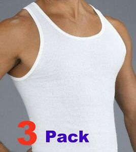 f29673cf26434c 3 Mens White Tank Top Wife Beater Undershirt A-Shirts Cotton Ribbed ...