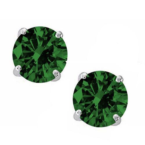 0.20-3.00 Ct 925 Sterling Silver Emerald Round Cut Stud w// Screw Back Earrings