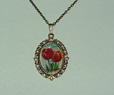 RED TULIP FLOWER GLASS CAMEO GOLD PLATED FILIGREE VICTORIAN STYLE PENDANT