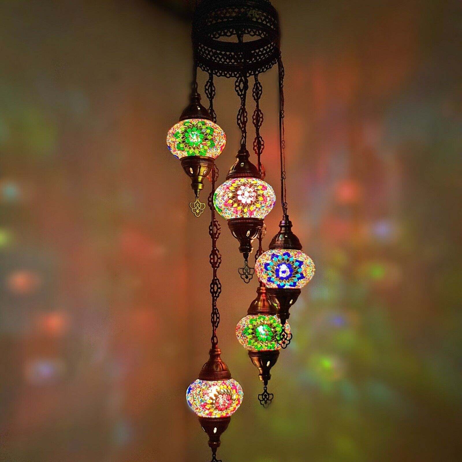 Authentic Turkish Moroccan Glass Mosaic Hanging Lamp Ceiling Light Chandeliers Ebay