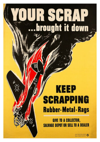 wwII Scrap poster propaganda art ww2 plane World war 2 print A3 A4 Collectable