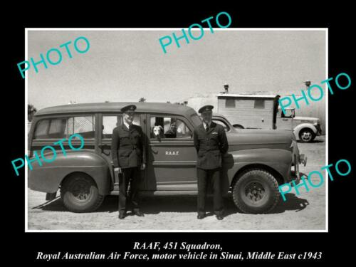 OLD 8x6 HISTORIC PHOTO OF RAAF AIR FORCE 451 SQUADRON CAR IN MIDDLE EAST c1943