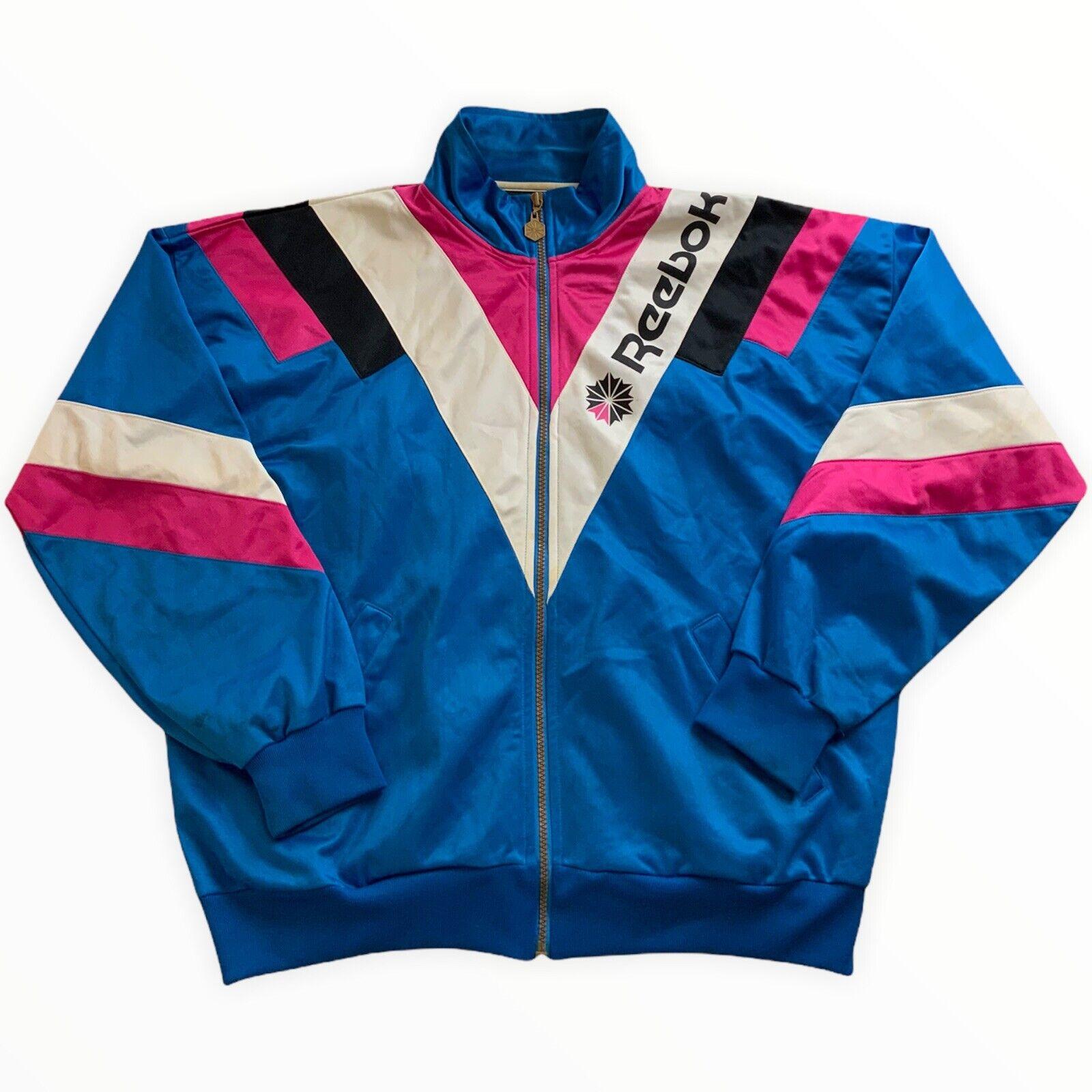 Reebok Vintage Womens Track Jacket Track Jacket Size 38 approx M Sport Pink TH5