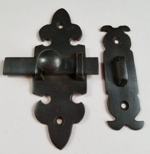 "Ornate Antique Type Brass Door Slide Latch Lock Bolt Barn Gate Cabinet 4/"" #X7"