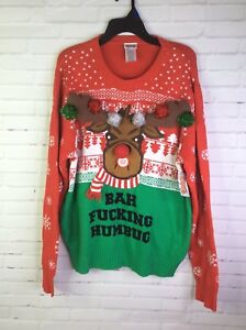 Spencers Ugly Christmas Sweaters.Details About Spencers Bah F Humbug Light Up Reindeer Ugly Christmas Party Sweater Size Xl