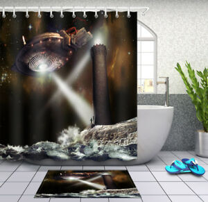 Image Is Loading Alien Visit Tower Lighthouse Shower Curtain Bathroom Mat