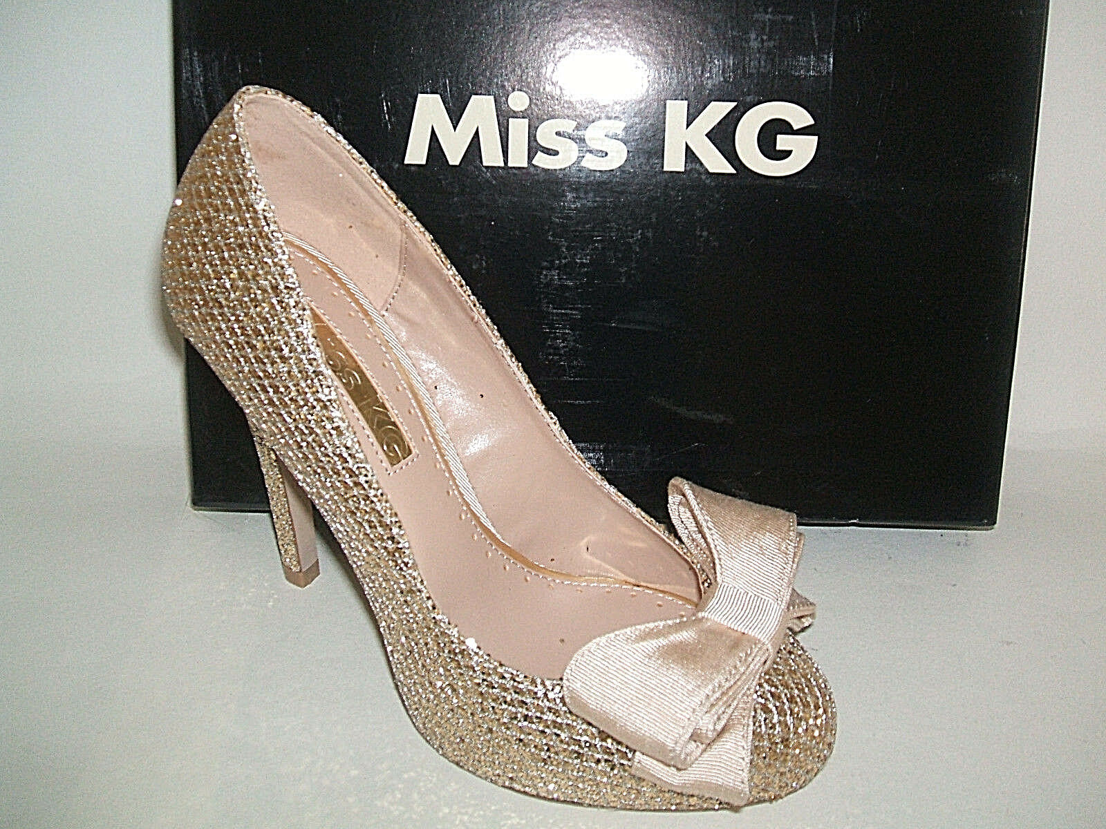 RRP £70 MISS KG SIZE 3 4 5 6 7 GEM GOLD GLITTER BEIGE BOW OCCASION COURT SHOES