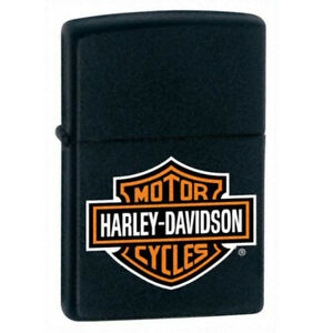 Zippo-Windproof-Lighter-Classic-Harley-Davidson-Logo-Black-Matte-218HDH252