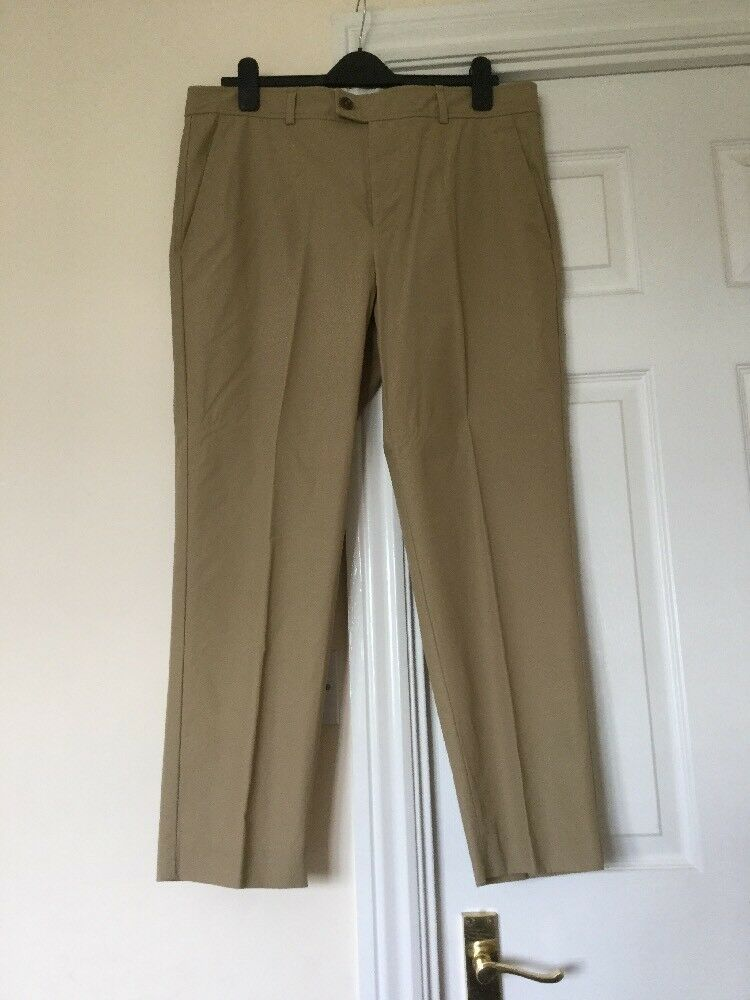 ISABEL MARANT Camel Licia Straight Leg Cotton Poplin Trousers Size 44FR 14-16uk
