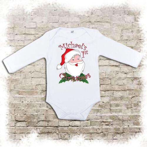 Mon premier Noël Personnalisé Santa-Baby bodysuits bavoirs /& musulmans.