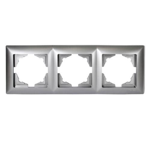 Visage 3-fach Rahmen für 3 Steckdosen Schalter Dimmer Silber