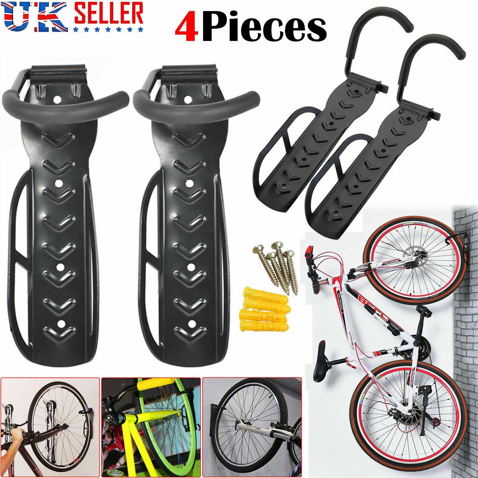 2x Bike Bicycle Wall Mounted Mount Hanger Holder Rack Stand Garage Hooks Storage