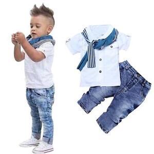 3PCS-Toddler-Kids-Baby-Boys-T-shirt-tops-Denim-Pants-Scarf-Clothes-Outfits-Set