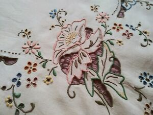 Wow-Amazing-Colorful-Cutwork-amp-Embroidered-Madeira-Linen-Tablecloth-42-034-by-41-034