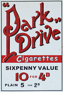 Park-Drive-Cigarettes-VINTAGE-ADVERTISING-ENAMEL-METAL-TIN-SIGN-WALL-PLAQUE