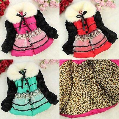 Baby Toddlers Girls Fur Fleece Lined Coat Kids Winter Warm Jacket Outwear 3-6Y