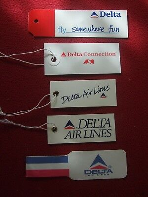Airline Baggage Tags X 5 - Delta Airlines 1980's /90's Vintage
