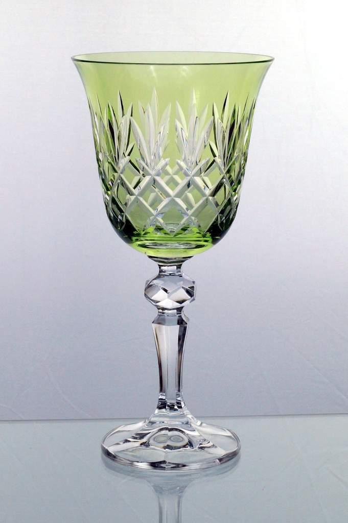 Set 6 Weingläser Rotweingläser Weissweingläser aus Crystalite grün BORDEAUX