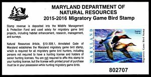2015-Maryland-Duck-Stamp-MD-42-Self-Adhesive-VF-XF-ESP-STOCK