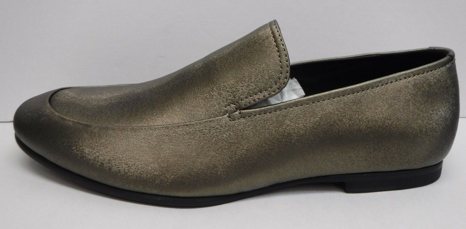 Calvin Klein Size 10 Bronze Smoke Leather Loafers New Mens Shoes