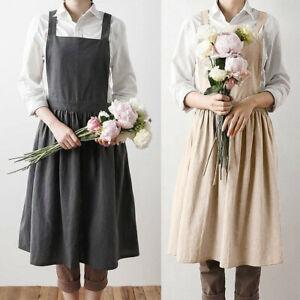 acaf3015fc Image is loading Women-Cotton-Linen-Bib-Apron-Sleeveless-Pinafore-Home-