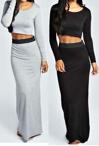 New Womens Ladies Long Sleeve Crop Top Maxi Skirt Co-Ord Set Sizes 8 ... e2456e367c0
