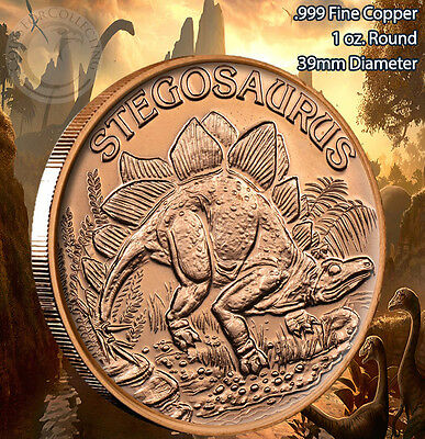 20 Ounces Of Copper 1 oz Each DINOSAUR STEGOSAURUS Design  Bullion Rounds