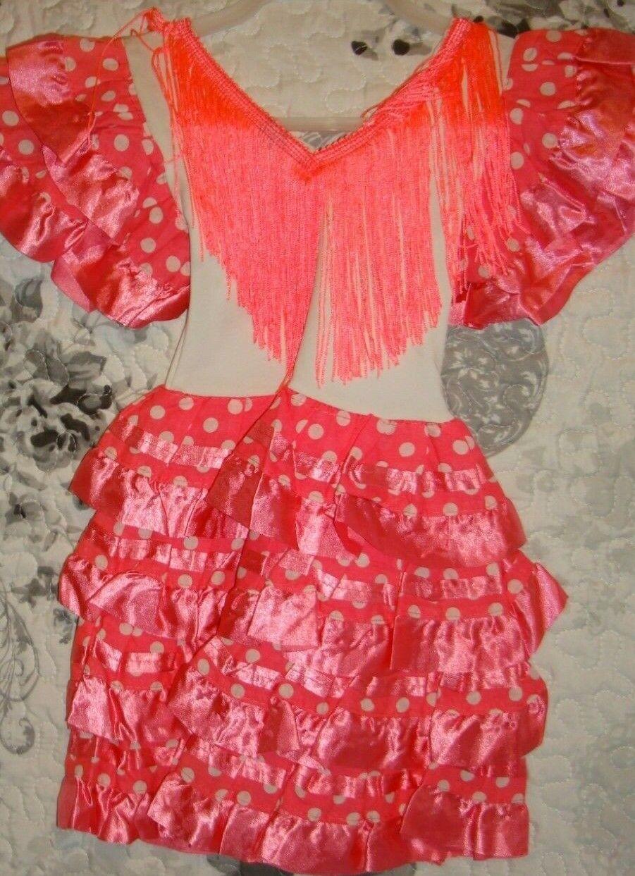 New Girls Beautiful Spanish Flamenco Dance Dress Pink /White 2 yrs