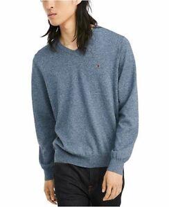 Tommy-Hilfiger-Men-039-s-Men-039-s-Signature-Solid-V-Neck-Sweater-Gray-L-G