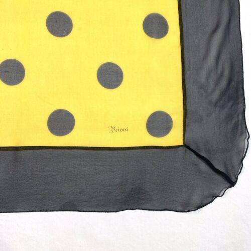 Vtg 80s Brioni Italy Big Sheer Yellow & Black Pol… - image 1