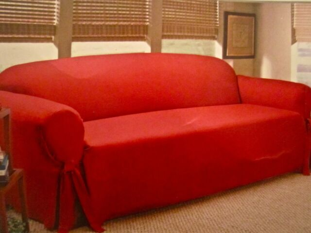 Brick Red Faux Suede Sofa Slipcover One