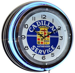 "19"" Cadillac Authorized Service Blue Double Neon Clock ..."