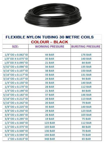 """IMPERIAL Nylon Tubo 30m Tubo Tubo Flessibile Nylon Pneumatico Aria Linea 1//8/"""" 1/""""OD"""
