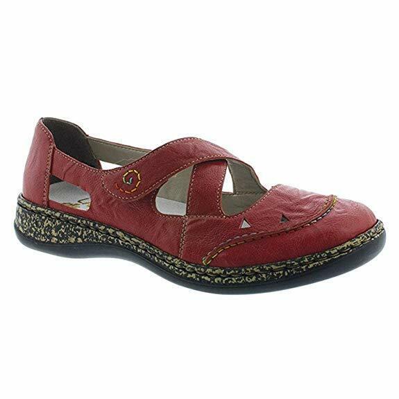 Rieker Da Donna 46335 pelle rossa croce sopra cinturino scarpe allacciate ANTISTRESS Estate