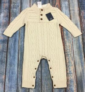 Baby Gap Boys 6-12 Month Cream White Cable Knit Sweater Romper Nwt