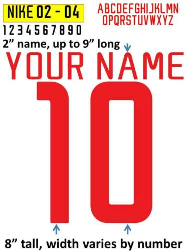 SWOOSH 2002-2004 IRON ON heat press transfer numbers for soccer jersey
